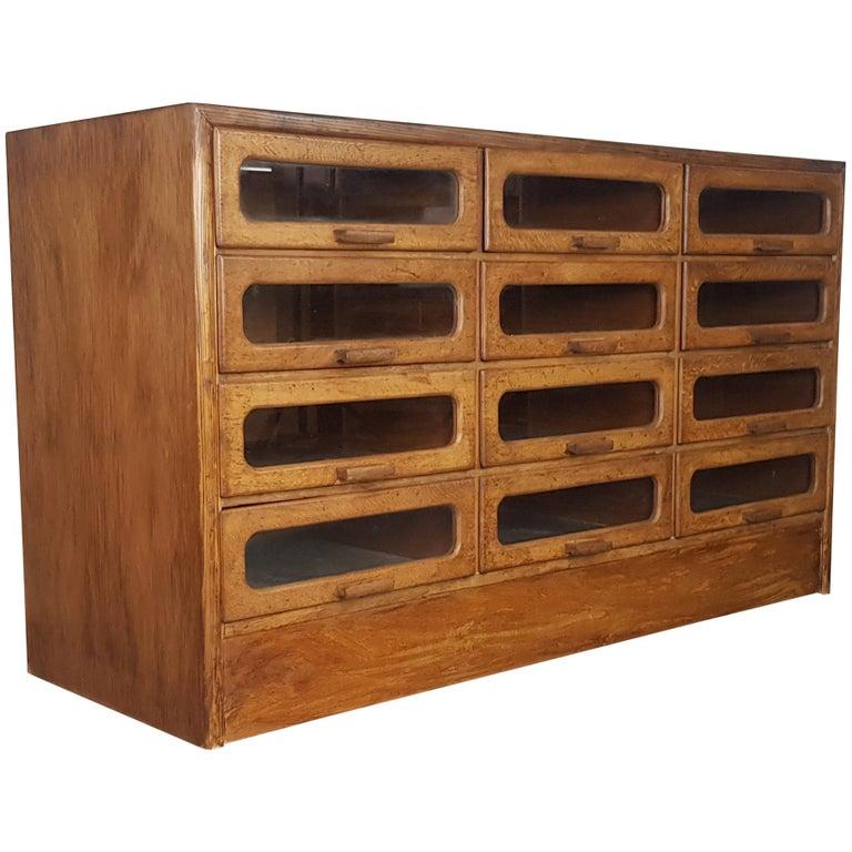 Vintage Early 20th Century Oak 12-Drawer Haberdashery Cabinet