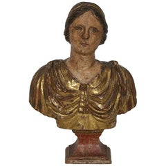 18th Century Italian Carved Wooden Bust