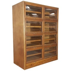 Vintage Midcentury Oak 8 Section Haberdashery Cabinet