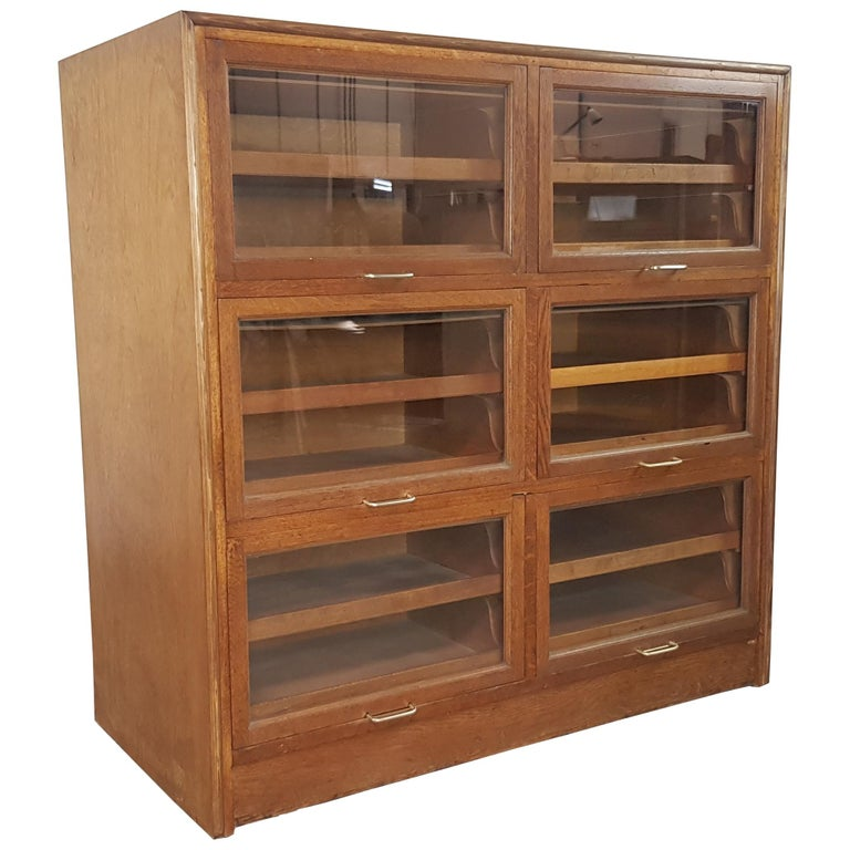 Vintage Midcentury Oak 6-Section Haberdashery Cabinet