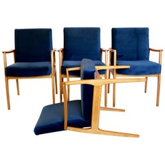 Set of 4 Chairs in Blue Velvet from 20th Century