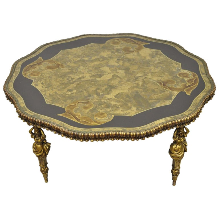 French Victorian Coffee Table: Victorian Marble-Top Coffee Table Figural Female Faces