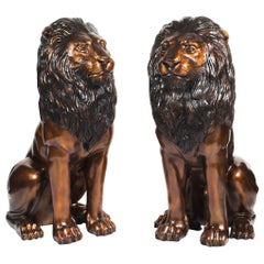 Magnificent Pair of Cast Bronze Sitting Lions, 20th Century