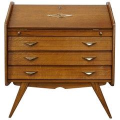1950s French Design Oak Wooden Chest of Drawers / Secretary with Brass Finish