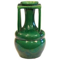 Awaji Pottery Organic Buttress Handle Arts & Crafts Green Monochrome Vase
