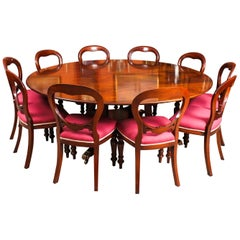 """Vintage """"Dining Table by William Tillman, Harrods & 10 Chairs 20th Century"""