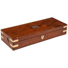 Antique Mahogany Velvet Lined Jewelry Box, 19th Century