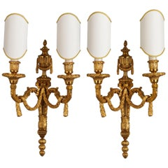 Set of Empire Style Gilt Bronze Wall Sconces
