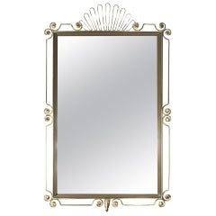 Rectangular Brass Metal Mirror 1950s Design