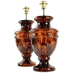 1970s Pair of Tortoise Shell Glass Medicis Vase Lamps