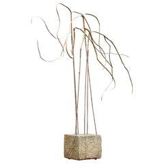 Kinetic Reeds Sculpture Incised Concrete Base Vintage 1950s Studio Craft