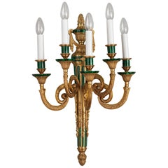 Louis XVI Style Gilt Bronze and Malachite Veneer Wall Sconce