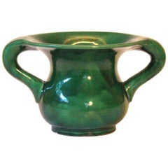 Awaji Pottery Organic Art Nouveau Curvy Monochrome Green Vase