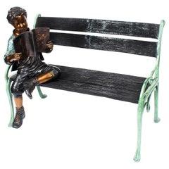 Stunning Lifesize Bronze Sculpture of Boy on a Garden Bench 20th Century