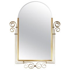 French Art Deco Style Bevelled Mirror with Brass Structure