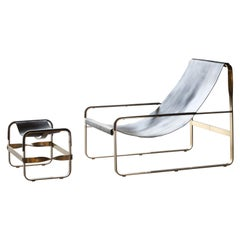 WANDERLUST Chaise Lounge Aged Brass Steel and Black Vegetable Leather