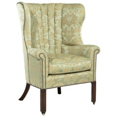 George III Mahogany Barrel-Back Armchair and Matched Foot Stool