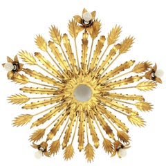 Large Five Lights Brutalist Gilt Iron Floral Sunburst Light Fixture Spain, 1950s