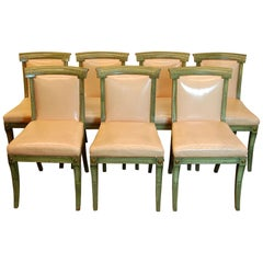 Set of 7 English Regency Style Green Polychromed Side Chairs with Saber Legs