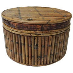 Vintage Lidded Round Artisanal Bamboo Box with Brass Fittings