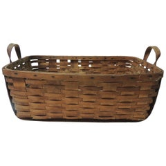 Antique Large Over-Size Wooden Flat-Woven Harvest Basket with Handles
