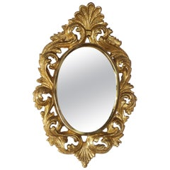 Antique Gilded Bronze Regency and Rocaille French Mirror