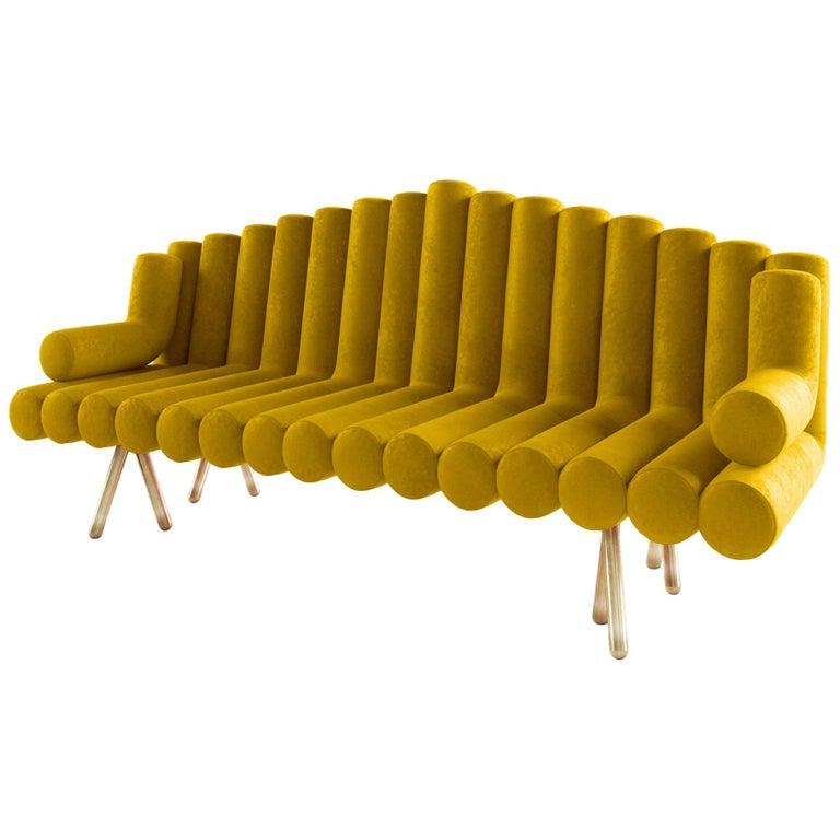 21st Century Handmade Contemporary Modern French Velvet Solid Brass Sofa