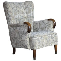 Danish Midcentury Fritz Hansen Style Highback Lounge Chair