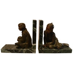 Art Deco Bronze Bookends of Chinese Children Playing by M. White, England, 1920