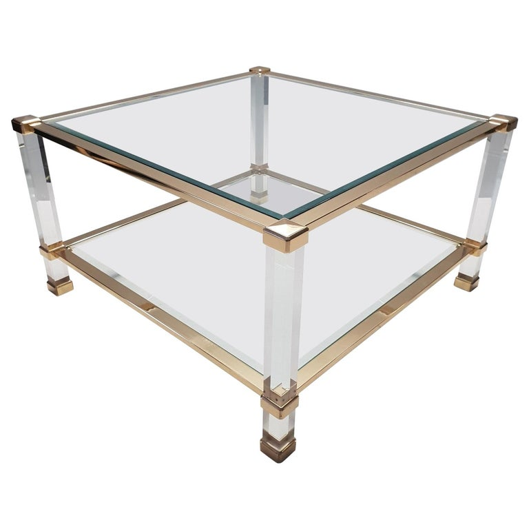 Italian Lucite and Brass Square Coffee Table by Orsenigo 'Marked', 1970s