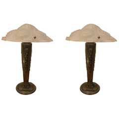 Pair of French Art Deco Floral Table Lamps Signed Degue