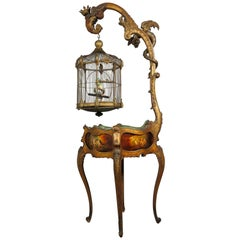 19th Century French Napoleon III Vernis Martin Jardinière with Bird's Cage, 1870