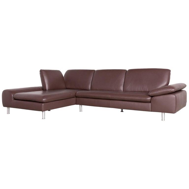 Willi Schillig Loop Designer Corner Sofa brown Leather Function Couch Modern