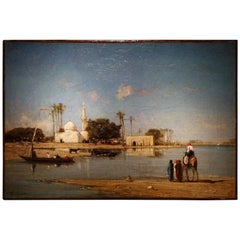Painting Signed Victor Huguet Banks of the Nile, Oil on Canvas