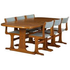 Danish Midcentury Set of Six Chairs and Trestle Dining Table by Gangso Møbler
