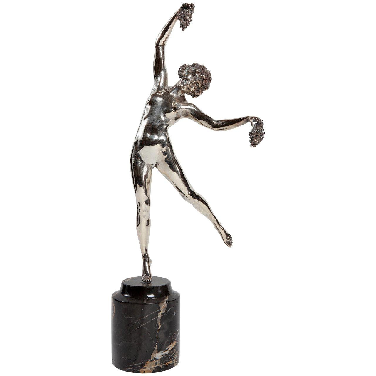 """Art Deco Bronze """"Dancer with Bunches of Grapes"""" by Pierre Le Faguays"""
