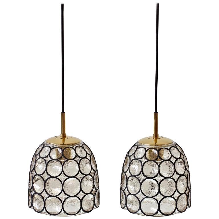 "Limburg Glashütte Pair of ""Iron"" Rings Glass & Brass Pendant Lights/Lamps 1960s"