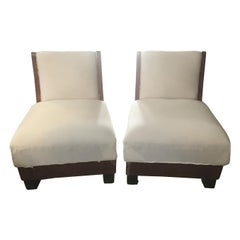 Pair of Art Deco Briar-Root Italian Armchairs from 1940s