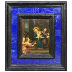 16th Century Old Master Van Scorel Oil on Copper Holy Family Lapis Lazuli Frame