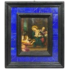 16th Century Old Master Van Scorel Oil on Copper Holy Family Lapis Lazuli Frame