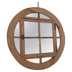 20th Century Italian Oak Window Frame with Mirror