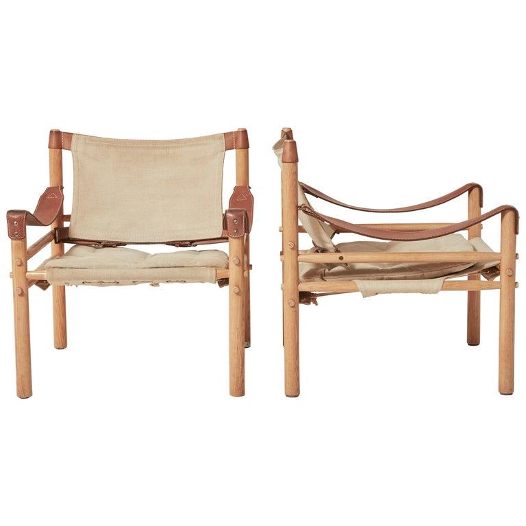 Pair of Arne Norell Safari Sirocco Lounge Chairs, Norell Mobel, Sweden, 1970s