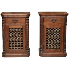 Pair of Highly Decorative Solid Teak Wood Nightstands from Plantation Homes