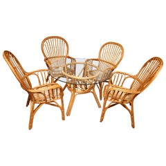 Superb Vintage Centre Bamboo and Rattan Table with Four Chairs