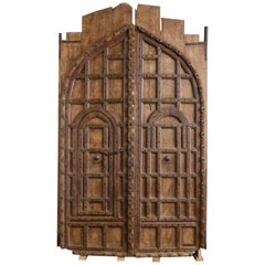 Triumphal Solid Teak Wood Door from a Fortified Castle in North West India
