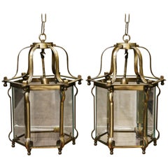 Pair of Solid Brass Superbly Handcrafted Hanging Lanterns from a Settler's Home