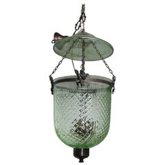 Vintage Hand-Cut Green Colored Bell Jar Lantern with Smoke Screen