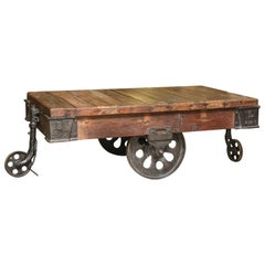 Old Buggy from Locomotive Work Shop Converted as Industrial Type Coffee Table