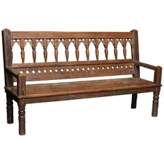 1930s Heavy Handcrafted Solid Teak Wood Bench from a Dutch Colonial Farm