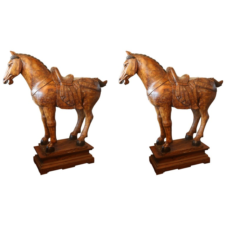 Pair of Wooden Mongolian Horses Lifesize Ching Dynasty, Late 20th Century For Sale